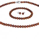 Brown 5mm  Freshwater Pearl Necklace, Bracelet & Earring Set
