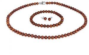 Brown 5mm  Freshwater Pearl Necklace, Bracelet & Earring Set