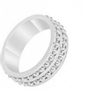 Stainless Steel Ring with 2 Rows of Ball Chain