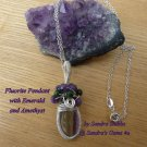 Fluorite Pendant, wire wrapped, with Amethyst and Emerald, Sterling Silver chain