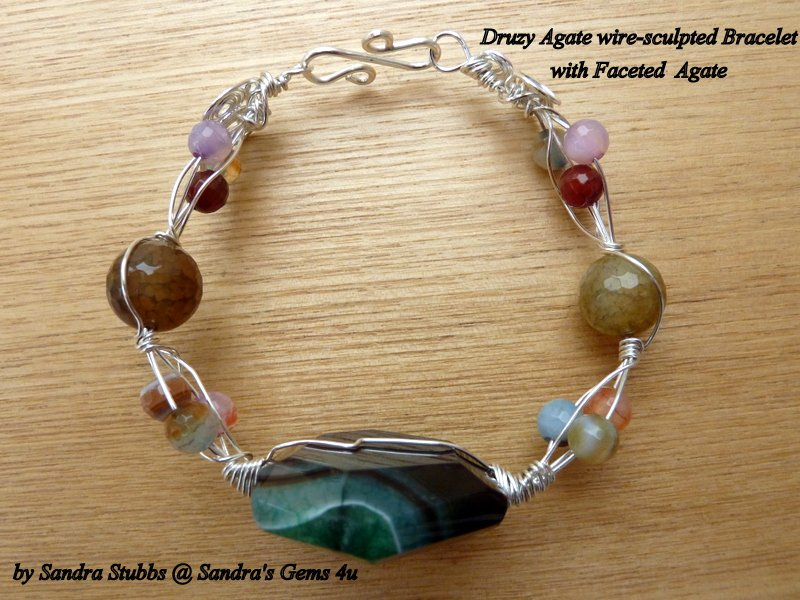 Agate Bracelet, multi-coloured, wire sculpted, silver