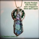 Gemstone Pendant, Fluorite and Emeralds, wire-wrapped in Silver and Copper