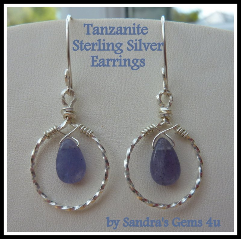 Tanzanite Hoop Earrings, Sterling Silver