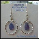 Tanzanite Hoop Earrings, Sterling Silver
