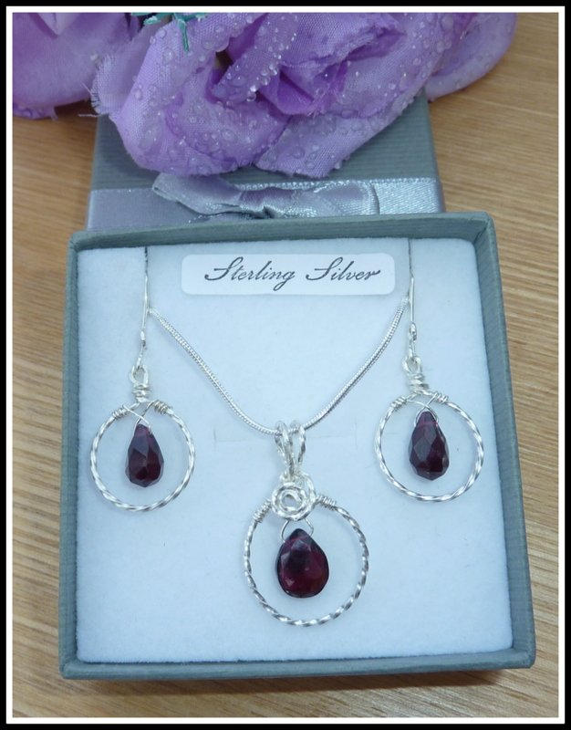Garnet Set, Pendant and Earrings, Sterling Silver, January birthstone