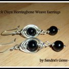 Black Onyx Earrings, Herringbone Weave, Silver