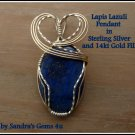 Lapis Lazuli Pendant, wire-wrapped in Sterling Silver and Gold Fill, with chain