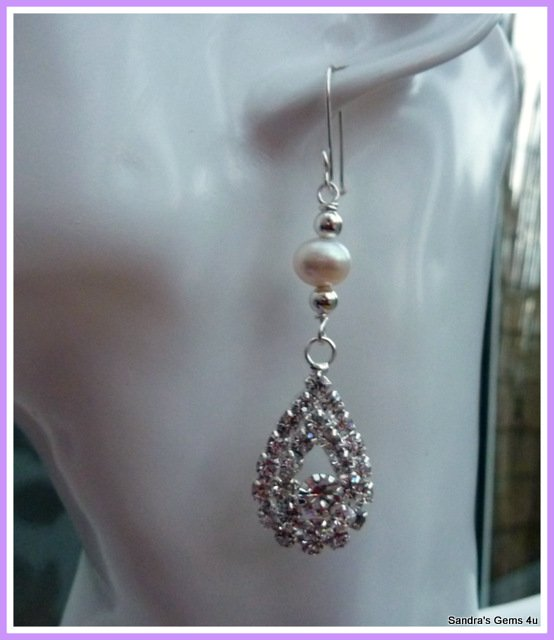 Bridal Earrings, Rhinestone Teardrop with Freshwater Pearls, Matching Pendant available