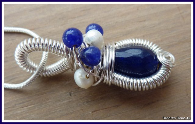 Blue Sapphire Pendant, coiled wire, September birthstone