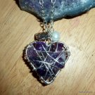 Amethyst Heart Pendant, wire wrapped, Silver, with chain, February birthstone