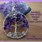 Amethyst Tree of Life Pendant with Fairy, Owl, Tree or Butterfly, with chain. February birthstone