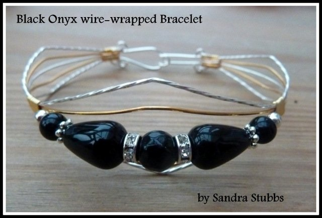 Black Onyx Bracelet, wire-wrapped in Silver and Gold
