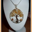 Handmade Citrine Pendant,Tree of Life, wire wrapped in Silver and Bronze, November birthstone