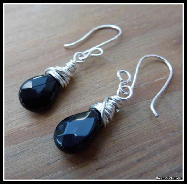 Black Onyx Earrings, Sterling Silver