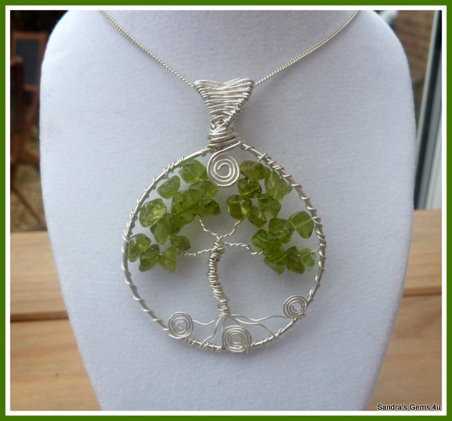 Handmade Peridot Tree of LIfe Pendant wire wrapped in Silver, with chain