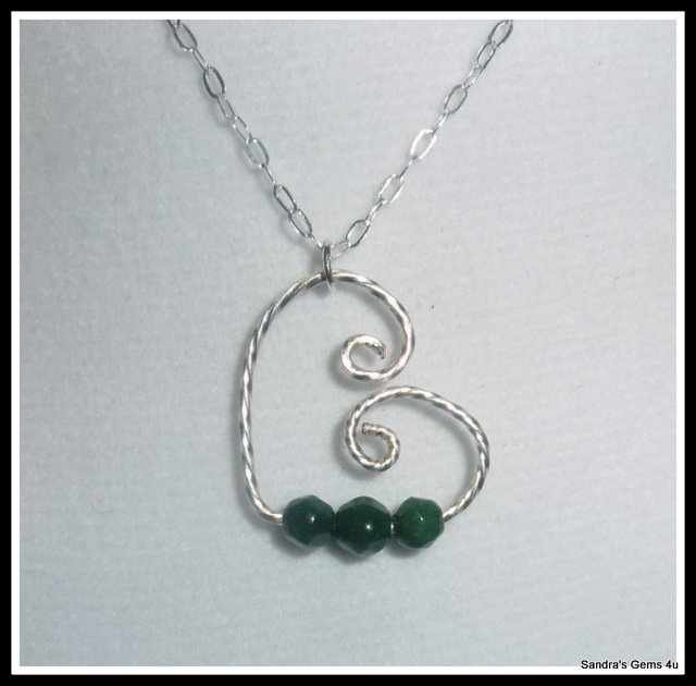 Emerald Pendant, Floating Heart, Sterling Silver, with chain