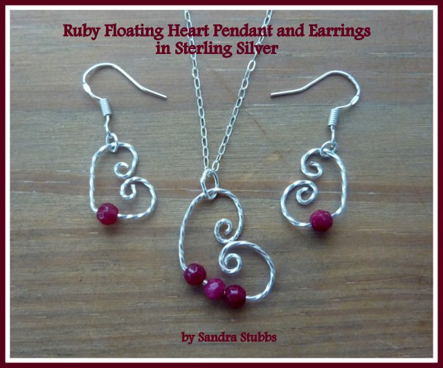 Ruby Earrings, Ruby Floating Heart Earrings, Sterling Silver, July Birthstone