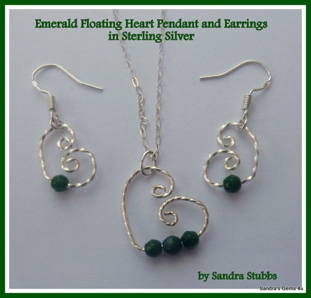 Emerald Earrings, Emerald Floating Heart Earrings in Sterling Silver. May birthstone