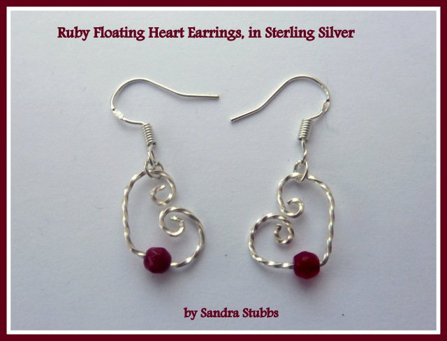 Handmade Garnet Earrings, Floating Hearts, wire wrapped in Sterling Silver, January birthstone