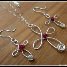 Handmade Cross Pendant with Ruby wire wrapped in Sterling Silver with chain, July birthstone