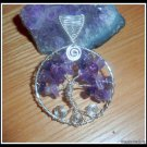 Handmade Amethyst Pendant, Tree of Life, wire wrapped in Silver,  February birthstone, with chain
