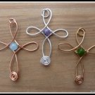 Handmade Cross Pendants, wire sculpted in Gold, Silver or Copper, with Amethyst, Aquamarine,