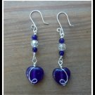 Amethyst Heart Earrings with Swarovski Crystals, in Sterling Silver