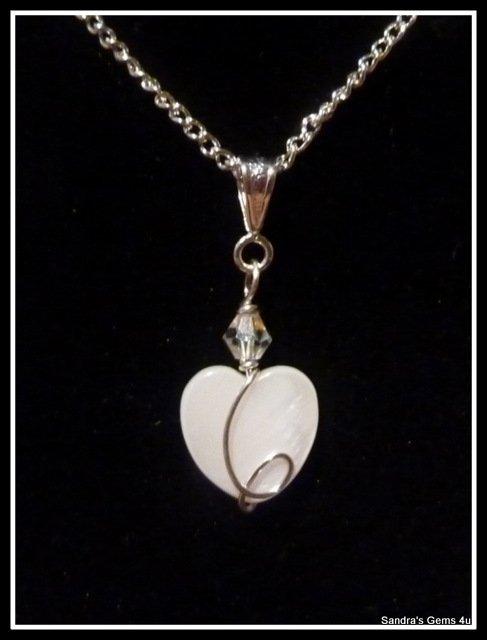Bridal Pendant, Bridesmaid Pendant, Wedding, Mother of Pearl Heart, Swarovski Crstal