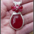 Ruby Pendant in Sterling Silver with Coiled Wire Frame and Woven Bail, July birthstone