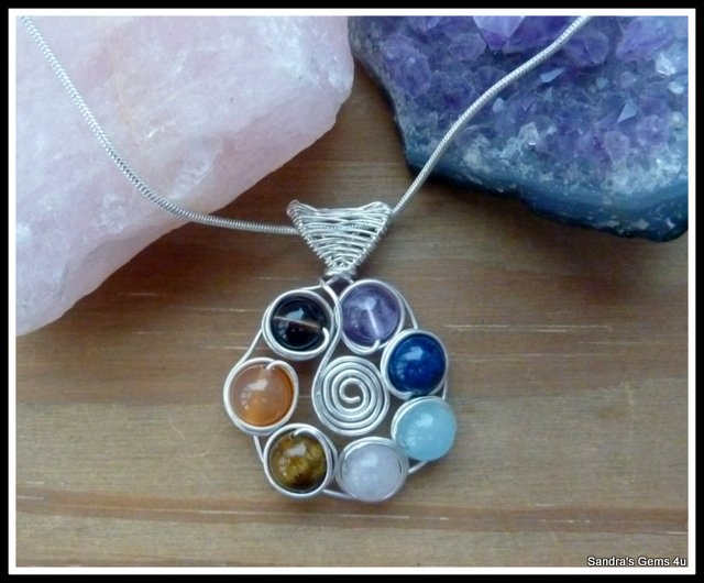Chakra Pendant wire wrapped in Silver, chain included