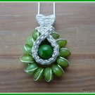 Peridot Pendant, wire wrapped and woven in Sterling Silver, August birthstone