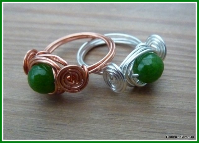 Peridot wire wrapped ring, Silver or Copper, August birthstone