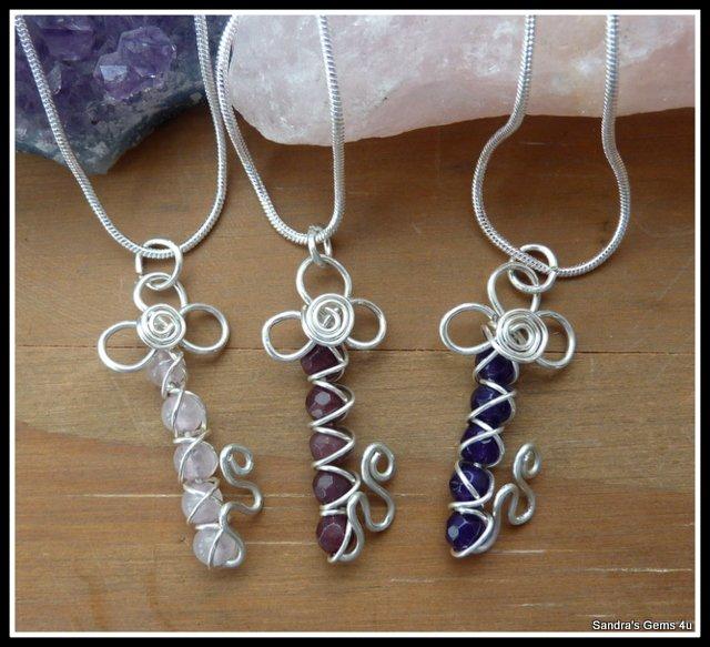 Handmade Garnet Key Pendant, wire wrapped in Sterling Silver, January birthstone