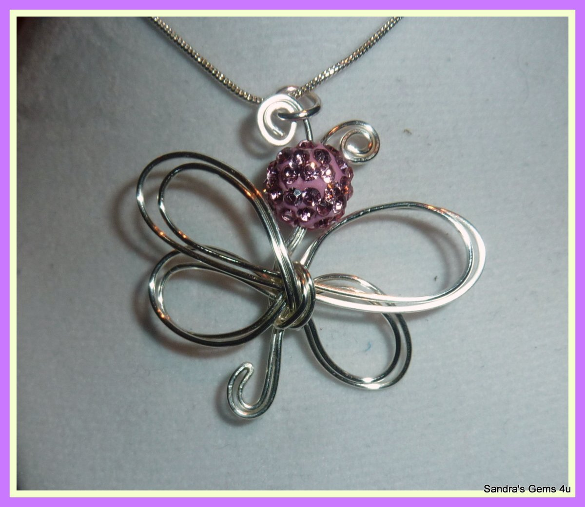 Butterfly Pendant with Crystal, in Silver, Gold or Copper, with chain