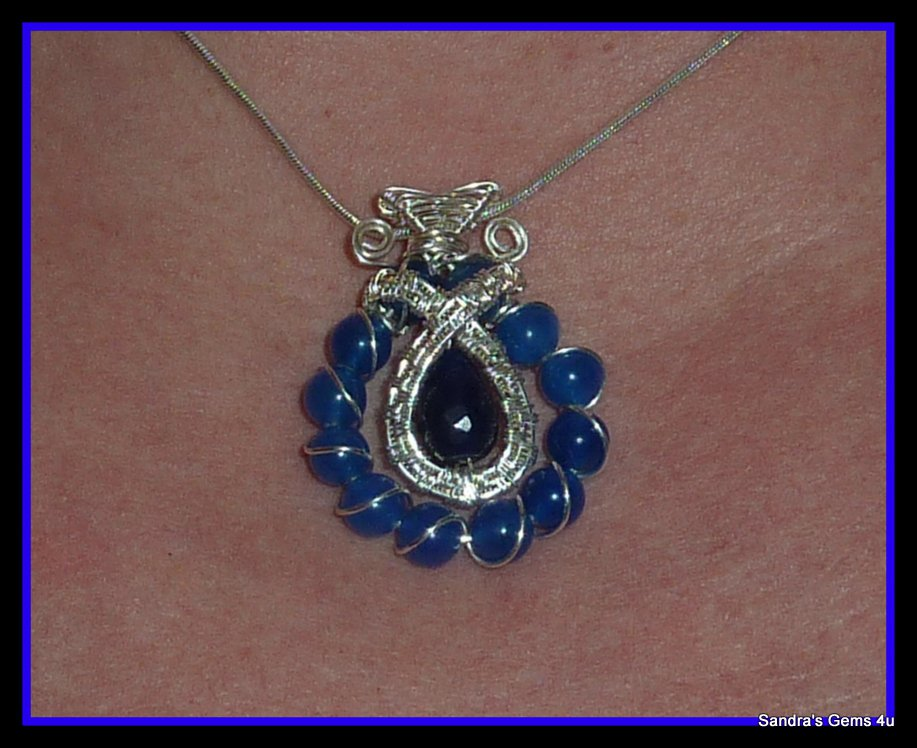 Blue Sapphire Pendant, wire wrapped in Sterling Silver, September birthstone