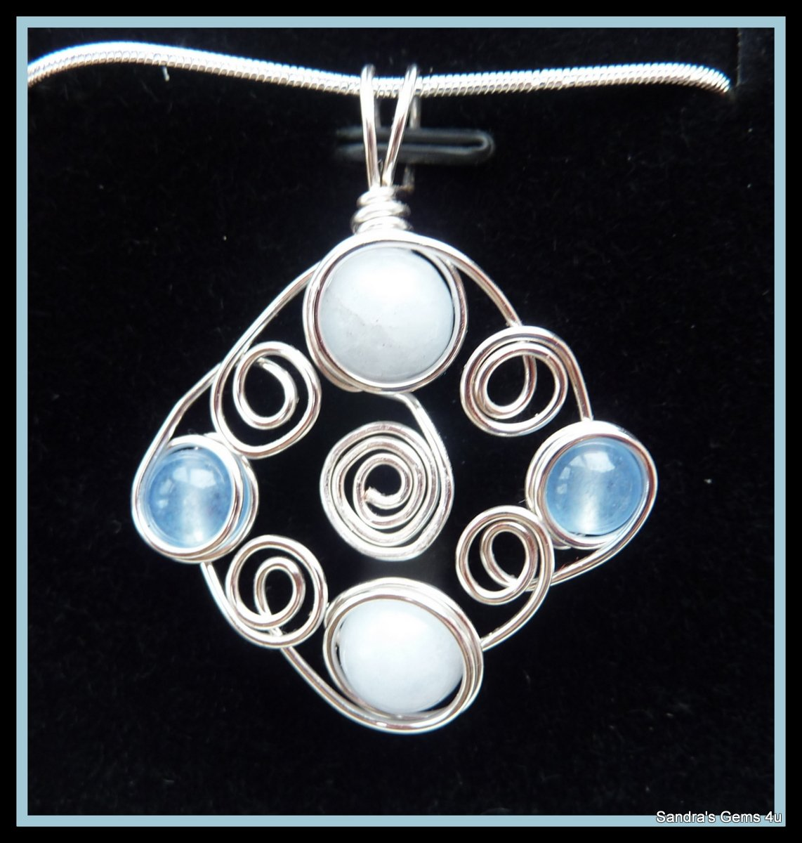 Aquamarine Pendant, wire wrapped in Silver, March birthstone, with chian