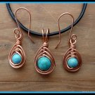 Handmade Turquoise Pendant and Earring Set, in Herringbone Weave, Leather Necklace