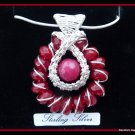 Ruby Pendant wire wrapped in Sterling Silver, July birthstone, with chain and gift box