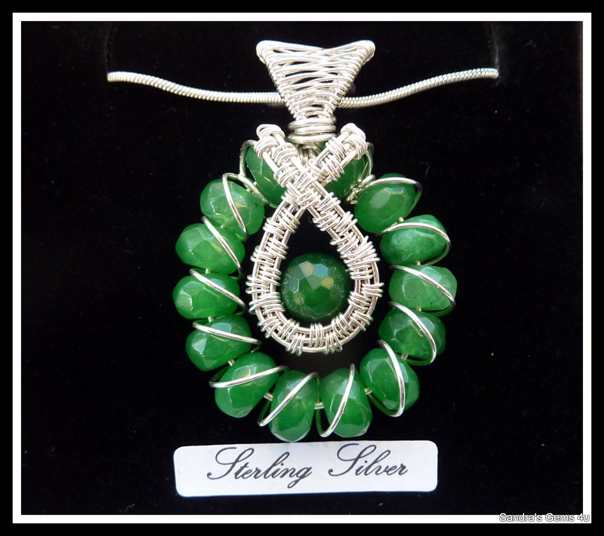 Emerald Pendant wire wrapped in Sterling Silver, with chain, May birthstone