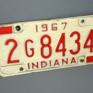 1967 Indiana IN License Plate Number 2G8434