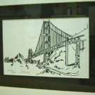 Golden Gate Bridge Skyview San Francisco Black Ink Drawing Jerry Schendel  LE SN