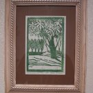 Ellen Eilers Calico County Folk Art Woodcut Print Ornamental Trees RARE