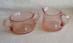 Lovely Pink Depression Glass Sugar and Creamer