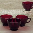 Four Anchor Hocking Snack Trays with Ruby Red Punch Cups