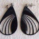 Classy Art Deco Black Enamel Earrings -  FREE SHIPPING - Memory Lane Collectibles