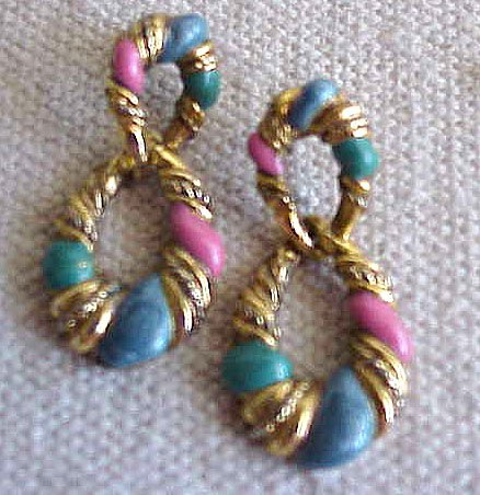 Lovely Goldtone Dangle Earrings  with Pink, Blue & Teal -  FREE SHIPPING - Memory Lane Collectibles