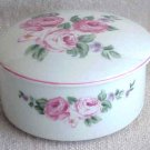 Lovely Rose Covered Trinket Box - Made in Japan - Memory Lane Collectibles