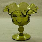 Green Glass Ruffled Candy Dish or Compote - Viking?? - Memory Lane Collectibles