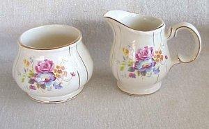 Sadler of England Creamer & Sugar - Rose Design  --- Memory Lane Collectibles