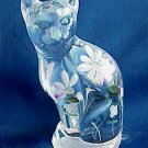 Fenton Clear Opalescent Handpainted Cat - Memory Lane Collectibles